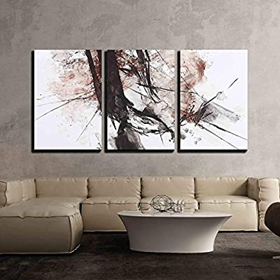 3 Piece Canvas Wall Art - Black and Red Abstract Brush Painting - Modern Home Art Stretched and Framed Ready to Hang - 16