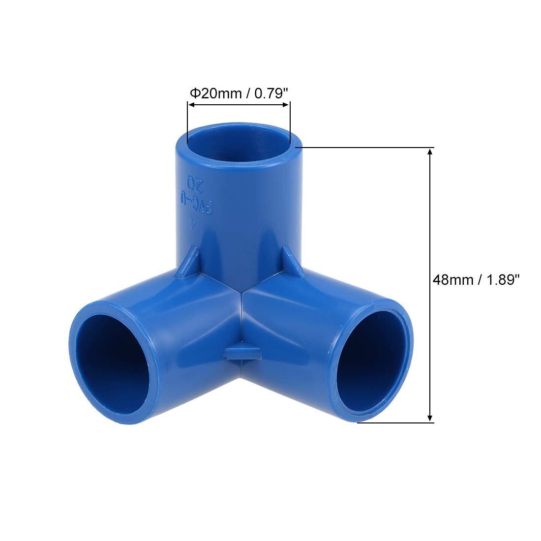 Accesorios de Esquina en T para Rociadores de Irrigaci/ón Azul 32 mm sourcing map Racor de Pvc de Codo de 3 V/ías 10 piezas Z/ócalo