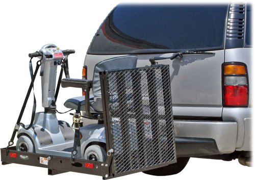 500 Lb Capacity Power Scooter and Wheelchair Folding Cargo Carrier Rack with Folded Ramp Lifts For Scooters