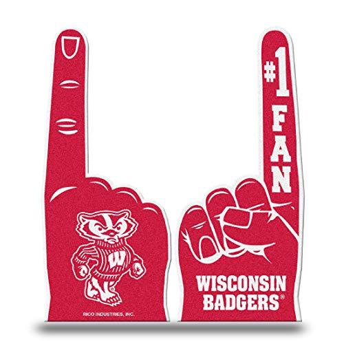 Rico NCAA Wisconsin Flat Foam Fingers Sports Fan Home Decor, Multicolor, One Size