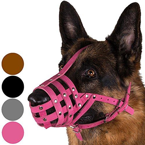 CollarDirect Dog Muzzle German Shepherd Dalmatian Doberman Setter Leather Basket Medium Large Breeds Black Brown Pink Grey (M, Pink)