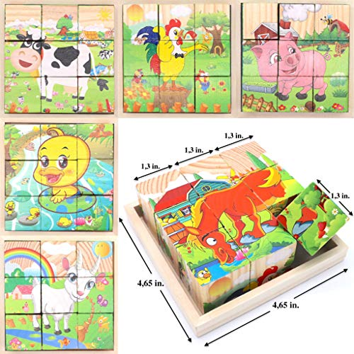 Wooden Cube 3D Puzzle - Farm Animals | Wooden Cubes - 3D Puzzle (6 in 1) with Tray | Developing of Fine Motor Skills, Memory Toys for Kids | Learning Shape, Color and Sorting (Farm Animals) - Farm Cube Wooden Puzzle