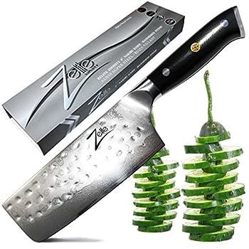Image of Home and Kitchen Zelite Infinity Nakiri Chef Knife 6 Inch - Alpha-Royal Series - Japanese AUS-10 Super Steel 67-Layer Damascus - Razor Sharp, Hammered Tsuchime Finish