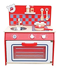 Deluxe Wooden Kitchen Toy Pretend Cooking Kids Children Role Play Set With Accessories By Oye Hoye Red