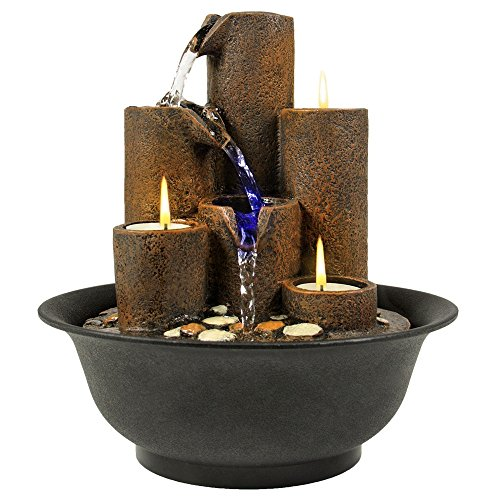 Home Accent Tabletop Fountain Waterfall With 3 Candles And LED - Frames Eyeglass Mail By