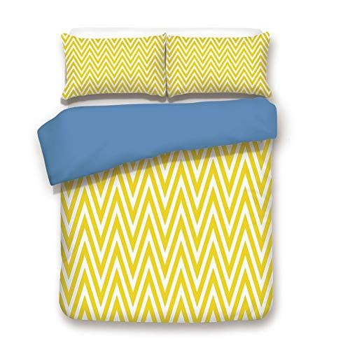 (Duvet Cover Set Full Size, Decorative 3 Piece Bedding Set with 2 Pillow Shams,Thin Yellow and White Chevron Stripes Retro Pattern in Contemporary Design)
