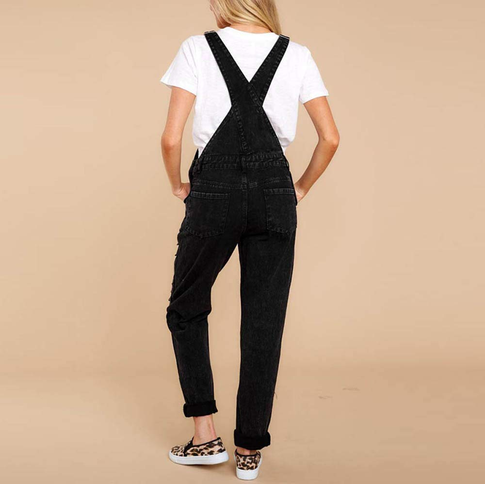 Kehen Women Distressed Stretch Overalls Fashion Denim Bib Pants Black Small by Kehen Women (Image #2)