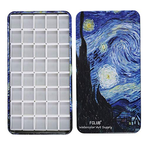 Fclub Watercolor Tins Palette Paint Case with 40Pcs Half Pans Carrying Magnetic Stripe on The Bottom - Starry Night by Vincent Van Gosh