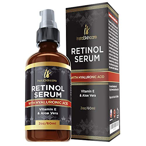 Retinol serum for face (2oz) with Hyaluronic Acid + Vitamin A and E + Aloe Vera Anti aging moisturizer - Fade Dark Spots - Clinical Strength Formula