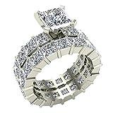 Princess Eternity Diamond Wedding Ring Set 14K White Gold (J,I1) Popular Quality