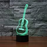 3D Illusion Lamp Gawell Guitar Effect Night Light 7 Colors Switch by Smart Touch Button Nice Gift Home Office Decorations