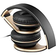Sound Intone Faltbare, dehnbare 3.5mm Kopfhörer, Headsets für PC, Android Smartphones, iPhone, iPad, iPod, Samsung, MP3, MP4, MP5 (Schwarz)