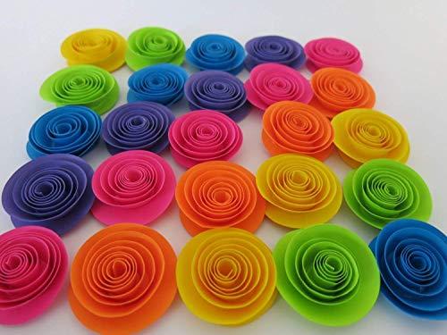 Neon Rainbow Paper Flowers Set of 24, 1.5