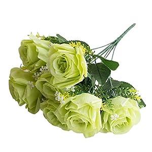 qiguch66 Artificial Flower for Decoration, 1Pc 7 Heads Artificial Rose Flower Home Decor Simulation Wedding Centerpiece - Green 20