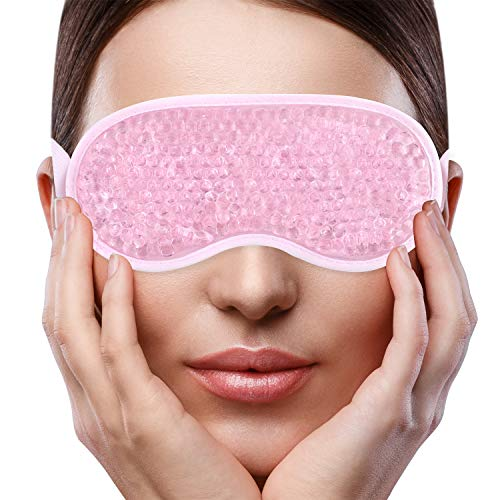 Sleep Eye Face Mask for Woman Man,Reusable Gel Beads ice Mask with Soft Plush Backing,Hot Cold Therapy for Puffy Eyes, Dark Circles, Headaches, Migraines, Stress Relief [Pink]