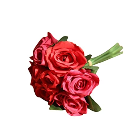 Fantasy Closet 9 Pcs Artificial Flowers Rose Bouquet Gift Home Wedding  Bridal Decoration Garden Mixed Red