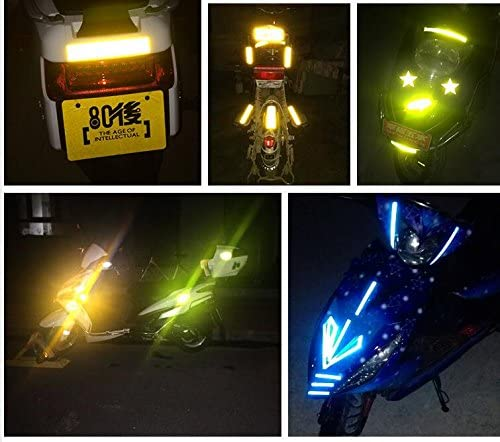 maiqiken 10pcs Cinta Reflectante Adhesiva Azul Universal Coche Moto Bicicleta Pegatina Seguridad 60 x 30 mm