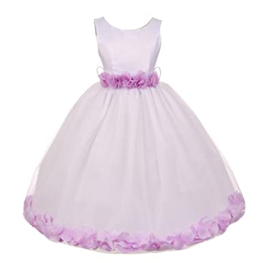 Amazon little girls white lilac floral petals embellished my best kids little girls white lilac floral petals embellished flower girl dress 1 2t mightylinksfo