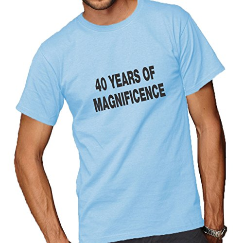 40 Years Of Magnificence Adult Short Sleeve T-Shirt Light Blue Large