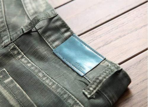 Da Classico In Toro Ssig Dritto Uomo Moderna Marchio Slim Moda Casual Nativity Grün Cowboy Rbt Colore Tide Alla Cotone Jeans Hle Originale UdrdB