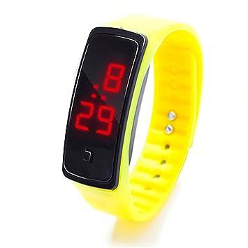 Pulsera deportiva de silicona, con pantalla LED, para correr, para niños y adultos, unisex , amarillo, 23 cm: Amazon.es: Deportes y aire libre