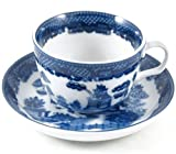 HIC Harold Import Co. YK-321 HIC Blue Willow Cups and Saucers Set, Fine White Porcelain