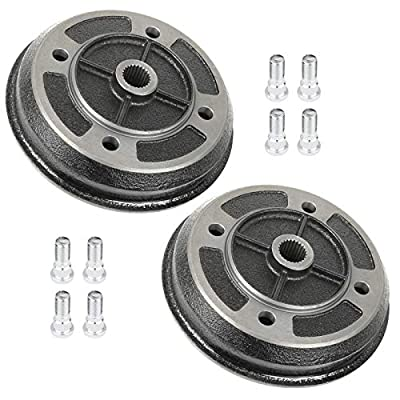 Caltric 2 Front Brake Drum Hub W/Bolts for Kawasaki 41038-1227: Automotive
