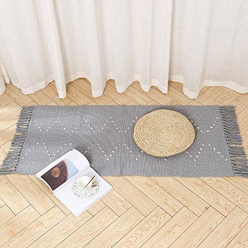 hi-home Boho Teppich Beige Baumwolle Gewebte Teppiche Waschbar L/äufer Badteppich mit Quasten f/ür Schlafzimmer Eingangst/ür K/üche Badezimmer 60x90cm