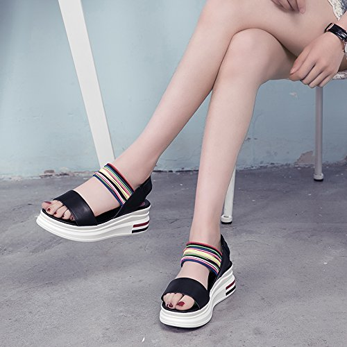 Xing Lin Leather Sandals Summer New Wild Sandals Female Open Toe Word With Loose Cake Thick Fight Color Casual Roman Shoes Female Black