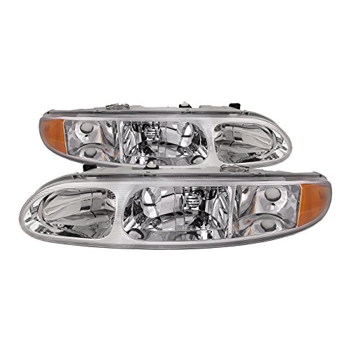 HEADLIGHTSDEPOT Chrome Housing Halogen Headlight Compatible with Oldsmobile Alero 1999-2004 Includes Left Driver and Right Passenger Side Headlamps