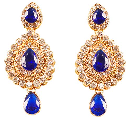 Touchstone New Indian Bollywood Desire Contemporary Diamond Look White Rhinestone Faux Blue Sapphire Designer Jewelry Chandelier Earrings in Antique Gold Tone for Women