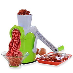 Zalik Meat Grinder And Juicer – Hand Crank Manual Mincer With Powerful Suction Base - Essential Kitchen Tool To Grind Fish Vegetables Garlic And Fruits - Dessert Maker With Stainless Steel Blades