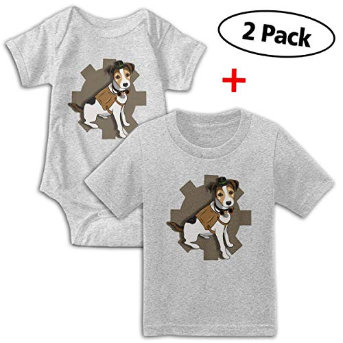 KAYERDELLE Cool Steampunk Dog Babys Boy's & Girl's Short Sleeve Bodysuit Outfits and Tshirt Gray ()