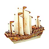 ROBOTIME 3D Wooden Puzzle Model Ship DIY Woodcraft kits Educational Toys for Boys and Girls(Zheng He)