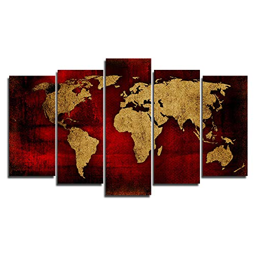 Faicai Art Old Wine Red Gold Abstract World Map Canvas Paintings Wall Art 5 Piece Prints HD Printed Large Wall Poster Artwork Pictures for Home Decor Living Room Office Framed Ready to Hang 60