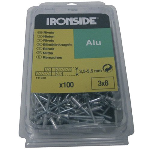 Ironside 141025 4.0/12 mm Blind Rivets - Multi-Colour (100-Piece)