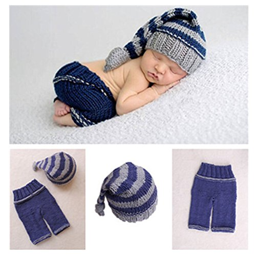 Vedory Newborn Baby Photo Shoot Props Girl Boy Crochet Knit Hat Costume Stripe Hat Pants Overalls Photography Props (Stripe Knit Layette)