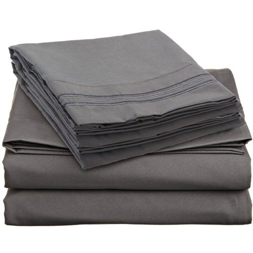 - Queen Size Royal Collection 1900 Thread Count Bamboo Quality Bed Sheet Set With 1 Fitted, 1 Flat and 2 Standard Pillow Case.Wrinkle Free Shrinkage Free Fabric, Deep Pockets (Dark Gray)