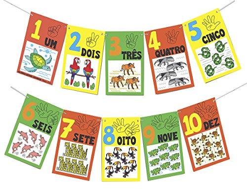 Varal de Numerais e Quantidades Fauna Brasileira Carlu Brinquedos