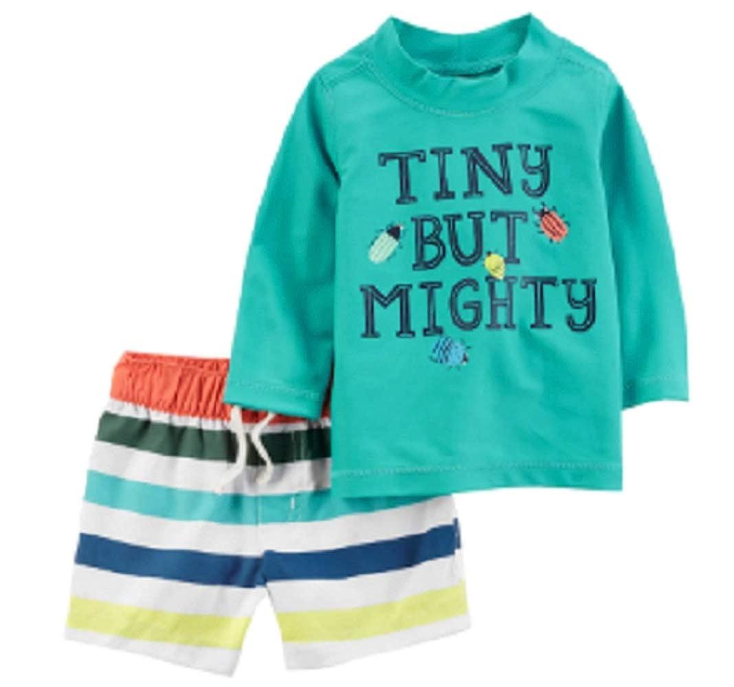 Carters Baby Boy Tiny but Mighty Rash Guard /& Striped Swim Shorts Set
