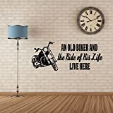 "Biker Grandpa Gifts -""An Old Biker and The Ride Of His Life"" With Motorcycle Image -Vinyl Decal Home Decor"