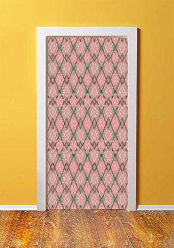 - Abstract 3D Door Sticker Wall Decals Mural Wallpaper,Old Checkered Tartan Pattern Scottish Royal Folk Culture Stripes Ethnic Image,DIY Art Home Decor Poster Decoration 30.3x78.12878,Taupe Coral