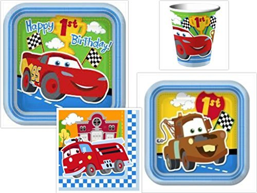 Disney Cars 1st Birthday Champ Party Supplies Set Dinner Plates, Dessert Plates, Napkins Cups Kit for 16