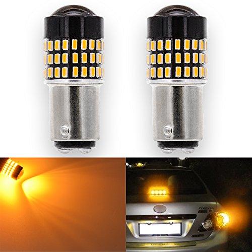 KATUR 2pcs 900 Lumens 1157 BAY15D S25 2057 2357 7528 Base Super Bright 3014 78SMD Lens LED Bulbs Brake Turn Signal Tail Backup Reverse Brake Light Lamp Amber 12V (1157 Base)
