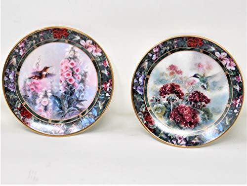 Bradford Lena Liu's Hummingbird Treasury Miniature Plate Collection - Set of 2 - Third Set in Series Limited Edition 1995 - Rufous/White-Eared ()