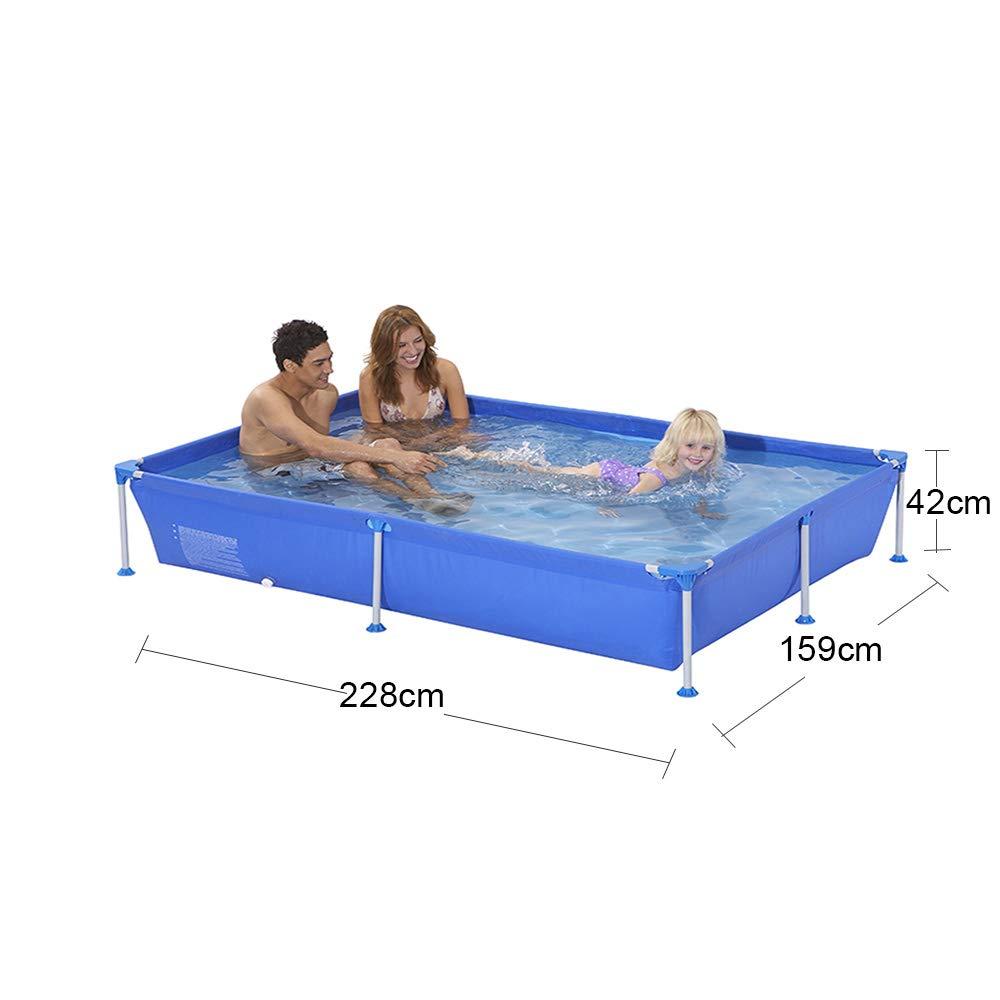 MJ-Inflatable swimming pool Rahmenpool Große Familie Langlebig rutschfest Tragbar Outdoor - Blau 300  207  70cm 228  159  42 Cm
