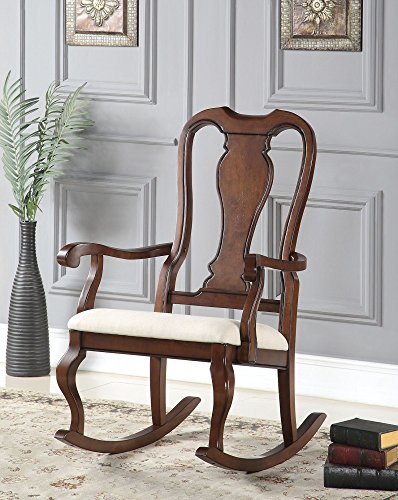 Simple Relax 1PerfectChoice Sheim Queen Anne Accent Rocking Chair Wood in Cherry Finish Beige Seat Cushion