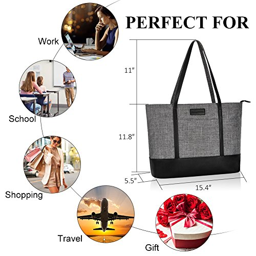 Laptop Bag,Multi Pockets Large Laptop Tote Bag,15.6 Inch Laptop Business Tote Bag for Women[gray] by Sunny Snowy (Image #2)