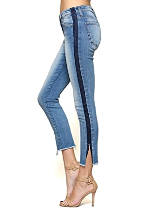 cf2fab222183 Flying Monkey Premium Mid Rise Tuxedo Stripe Skinny Jeans with Side Slit  Feature (11/