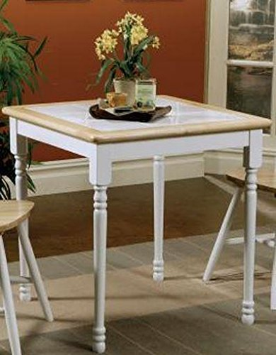 - Damen Square Tile Top Casual Dining Table Natural Brown and White